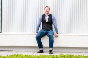 Who says a tie must go with a standard button down shirt? Make the traditional shirt and tie less stuffy with casual pieces. (Shirt, vest, jeans tie and shoes by way of Styles By M.E. LLC personal collection)